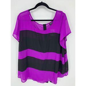 New torrid 3 purple black sheer blouse top